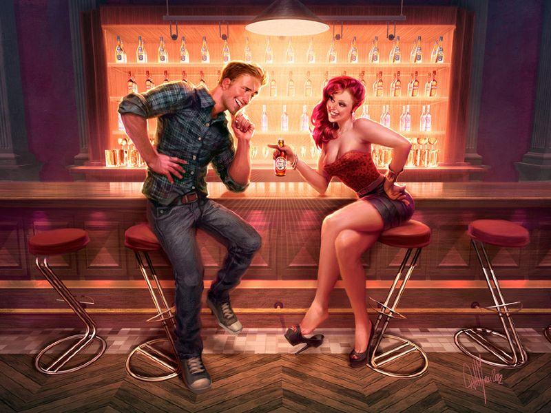 homme et femme flirt